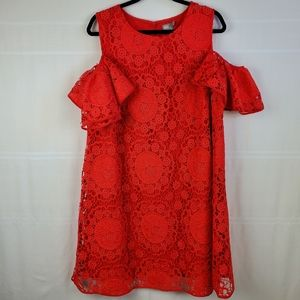 ASOS cold shoulder lace overlay red dress size 16